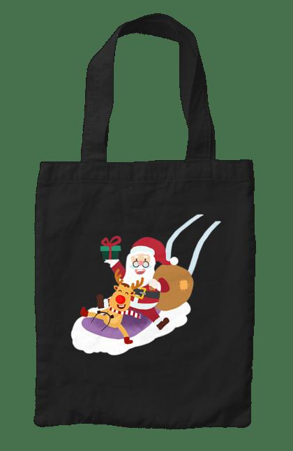 Сумка з принтом Олень і Санта Клаус. Новий рік, олень, подарунки, різдво, санта. CustomPrint.market