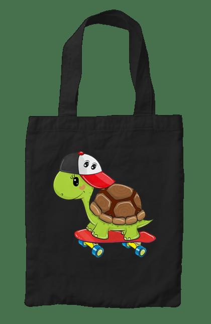 Сумка з принтом Черепаха На Скейті. Кепка, скейт, черепаха. CustomPrint.market