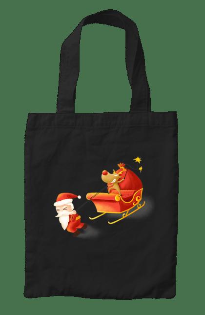 Сумка з принтом Санта і олень. Новий рік, олень, різдво, сани, санта. CustomPrint.market