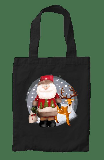 Сумка з принтом Санта з оленем. Новий рік, олень, різдво, санта, сніг. CustomPrint.market