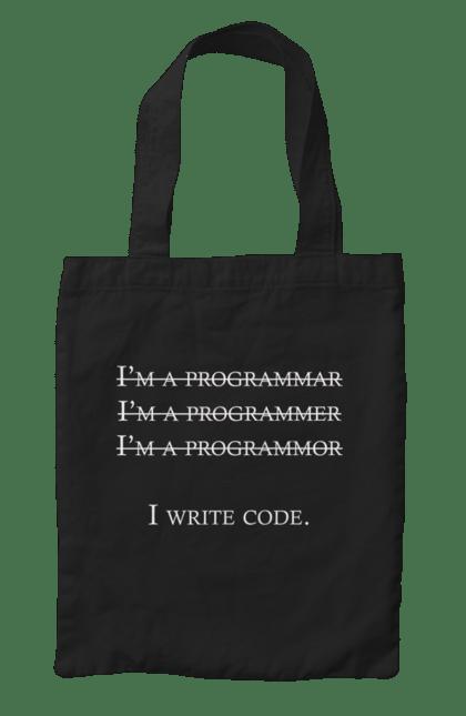 Сумка з принтом Я Пишу Код, Програміст, Білий. День програміста, код, пишу код, програма, програміст. BlackLine