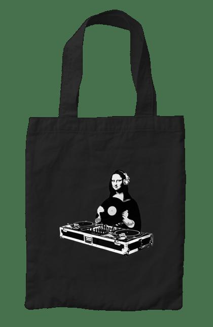 Сумка з принтом Мона Діджей. Діджей, мона лізу, музика, пластинки. CustomPrint.market