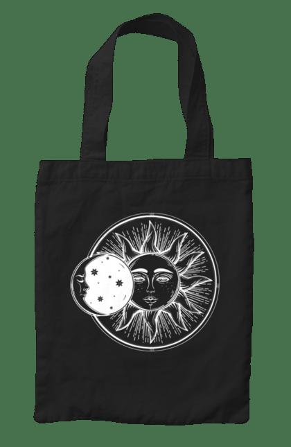 Сумка з принтом Сонце І Місяць, Білий. День, місяць, ніч, сонце. CustomPrint.market