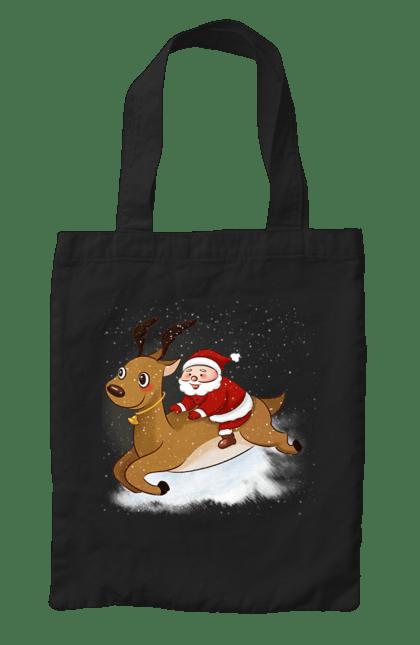 Сумка з принтом Санта і олень. Новий рік, олень, санта клаус, свято. CustomPrint.market