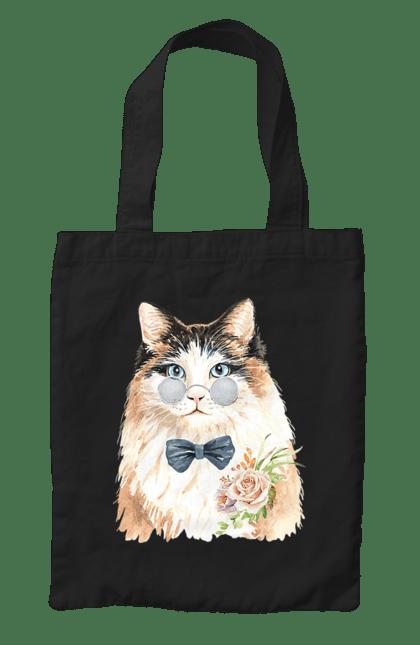 Сумка з принтом Біло-рудий кіт в окулярах. Бант, кіт, котик, окуляри. CustomPrint.market