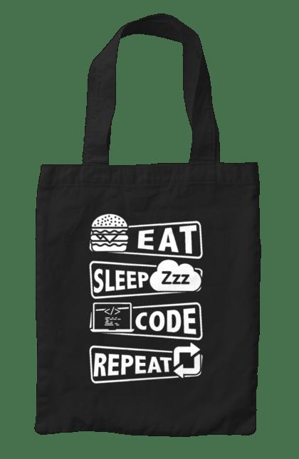 Сумка з принтом Їжа, Сон, Код, Повторити, Програміст Білий. День програміста, їжа, код, програміст, сон. BlackLine