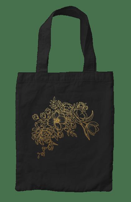Сумка з принтом Золотистые Цветы. Візерунок, квіти, квітка. BlackLine