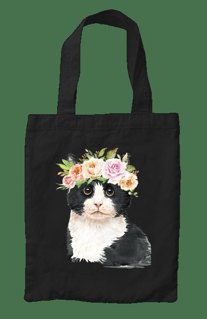 Сумка з принтом Чорно-білий кіт у вінку. Вінок, кіт, котик, троянди. CustomPrint.market