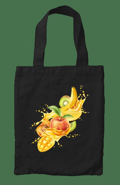 Сумка з принтом Вибухові Фрукти. Банан, ківі, манго, фрукт, яблуко. CustomPrint.market