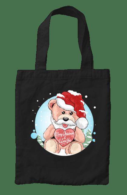 Сумка з принтом Мишка новорічний. Ведмедик, новий рік, новорічний, свято, сердечко. CustomPrint.market