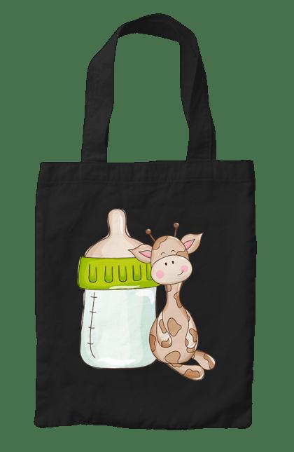 Сумка з принтом Жираф з пляшкою. Жираф, малюк, пляшка для малюка. CustomPrint.market
