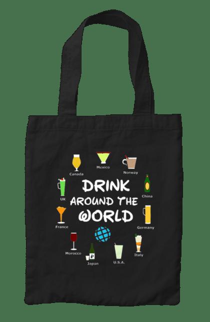 Сумка з принтом Пити По Всьому Світу. Алкоголь, мир, напис, пити. CustomPrint.market