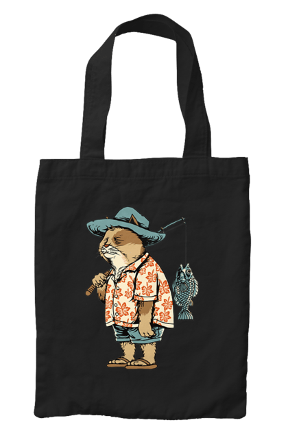 Сумка з принтом Кіт Рибак. Вудка, кіт, риба, рибалка. CustomPrint.market