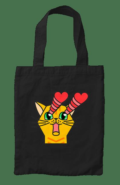 Сумка з принтом Закоханий, Жовтий Кіт. Закохані очі, кіт, любов. CustomPrint.market