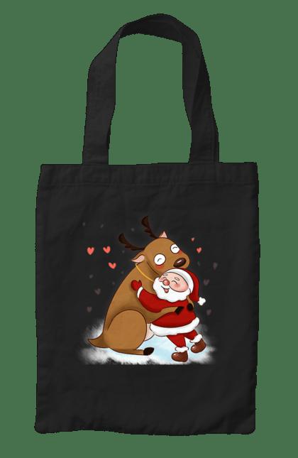 Сумка з принтом Санта і олень. Новий рік, обійми, олень, санта, сердечка. CustomPrint.market