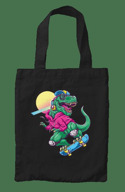 Сумка з принтом Динозавр В Навушниках І На Скейті CustomPrint.market
