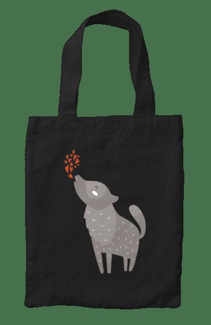 Сумка з принтом Закоханий волк. Волк, серденька, фарби. CustomPrint.market