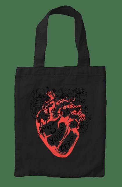 Сумка з принтом Макі сердве червоний. Макі, серце, символіка, україна, червоний. CustomPrint.market