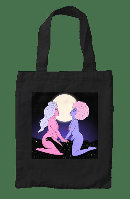 Сумка з принтом Дві Інопланетянки І Місяць. 18+, дівчата, зверху, інопланетянки. CustomPrint.market