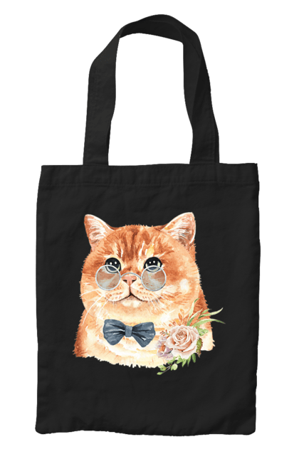 Сумка з принтом Кіт в окулярах з бантом. Бант, квітка, кіт, котик, окуляри. CustomPrint.market