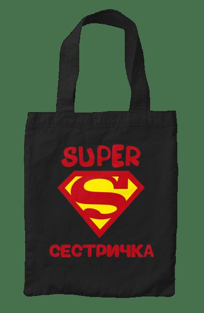 Сумка з принтом супер сестричка. Сестра, сімейні, супермен. CustomPrint.market