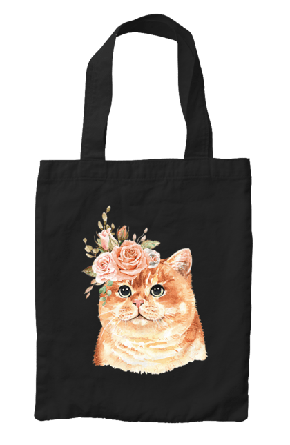 Сумка з принтом Котик з кольорами. Квіти, кіт, котик. CustomPrint.market