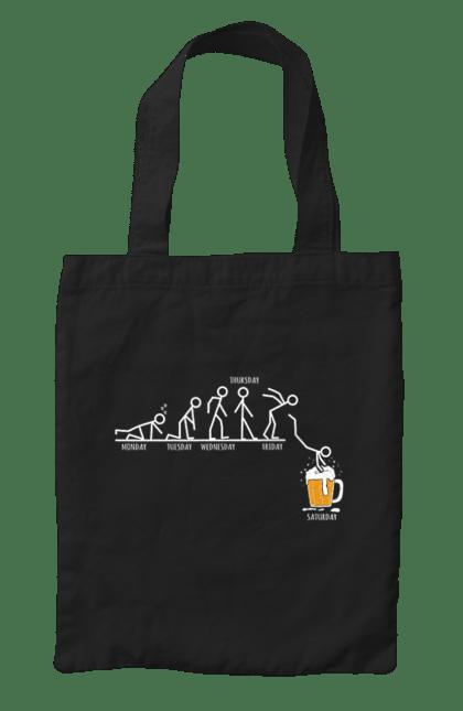 Сумка з принтом Тиждень Людини Яка Любить Пиво. Відпочинок, дні тижня, п'ятниця, пиво. CustomPrint.market