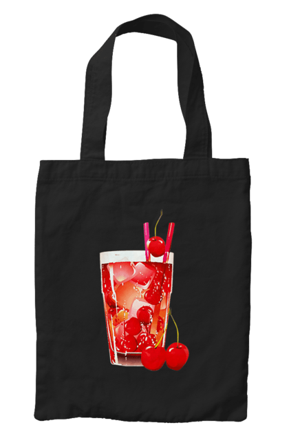 Сумка з принтом Вишневий коктейль. Алкоголь, вишня, коктейль. CustomPrint.market