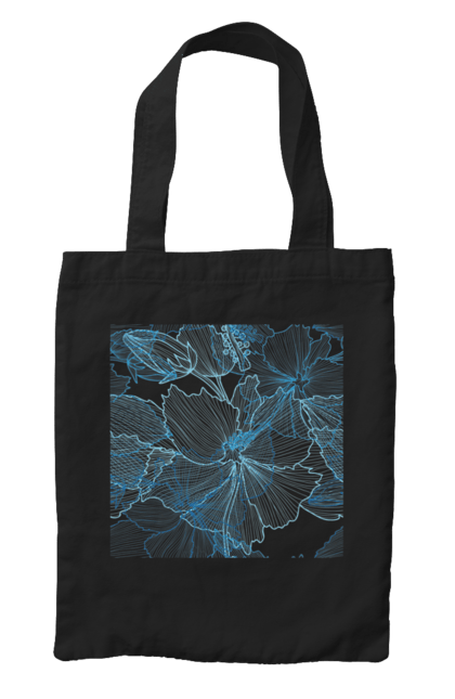 Сумка з принтом Блакитні Візерункові Квіти. Візерунок, квітка. BlackLine