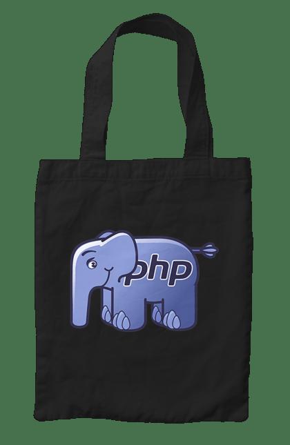 Сумка з принтом Мова Програмування, Слон. День програміста, мова програмування, програма, програміст, слон. BlackLine