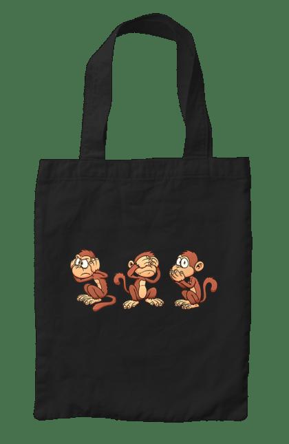 Сумка з принтом Мавпи. Говорити, зір, любі, мавпочки, слух. CustomPrint.market