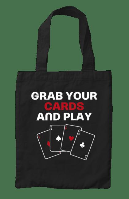 Сумка з принтом Бери карти і грай англ. Казино, карти, масті, покер, тузи. CustomPrint.market