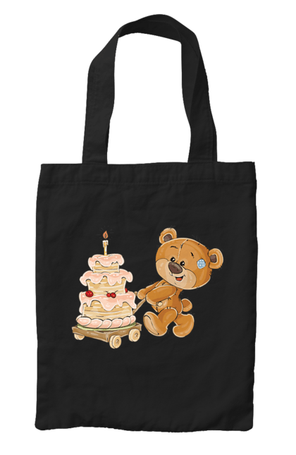 Сумка з принтом Ведмедик з тортом. Ведмідь, день народження, медвеженок, торт. CustomPrint.market