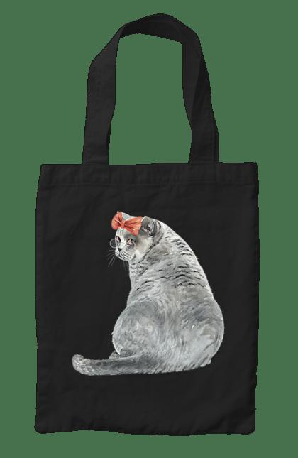 Сумка з принтом Котик в банті. Бант, кіт, котик. CustomPrint.market