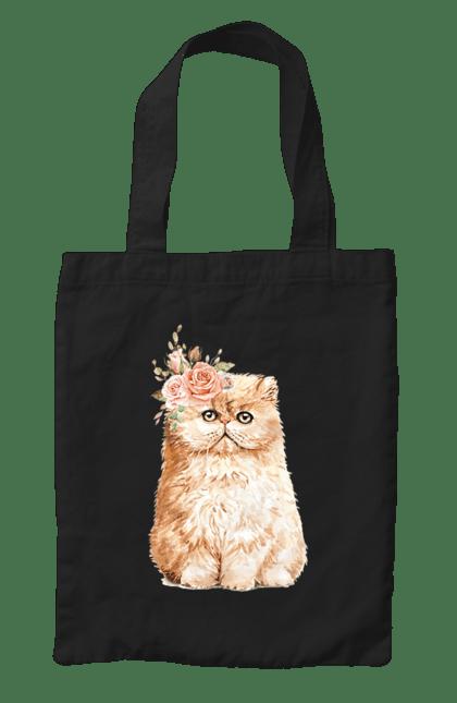 Сумка з принтом Біло-руде котеня у вінку. Вінок, кіт, котеня, котик. CustomPrint.market