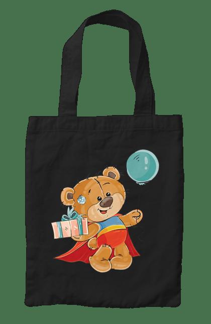 Сумка з принтом Ведмедик з кулькою. Медвеженок, плащ, повітряну кульку, подарунок, супермен. CustomPrint.market
