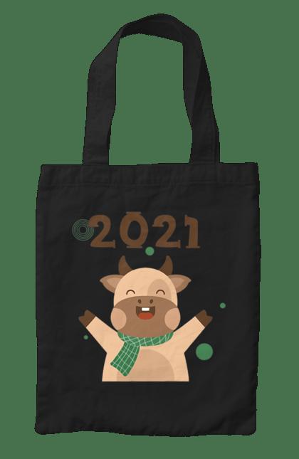 Сумка з принтом Новий 2021 рік Бика. 2021, бик, новий рік, свято. CustomPrint.market