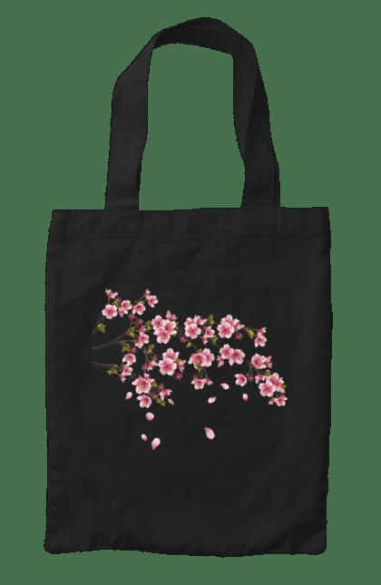 Сумка з принтом Гілка З Рожевими Квітами. Гілка, гілка з квітами, квіти. BlackLine