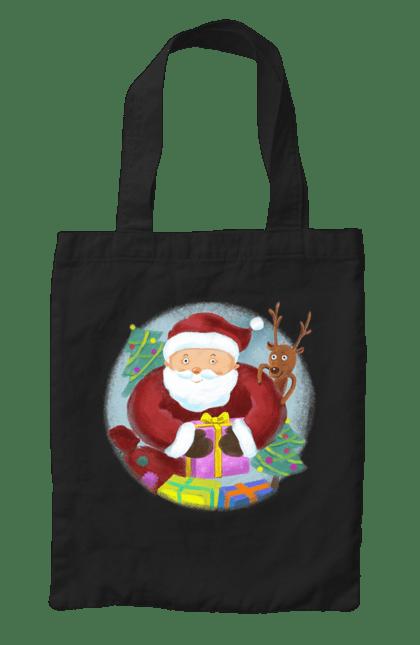 Сумка з принтом Санта з подарунками. Новий рік, олень, подарунки, санта, ялинки. CustomPrint.market