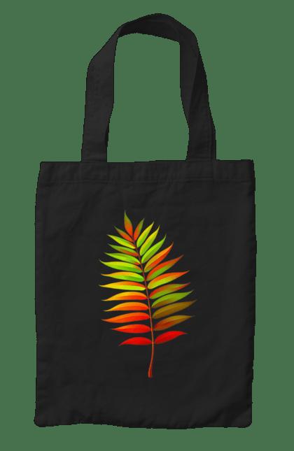 Сумка з принтом Осінній Листок. Жовтий листок, листок, осінь. BlackLine