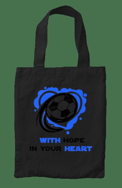 Сумка з принтом Футбол в серці синій. Футбол. BlackLine