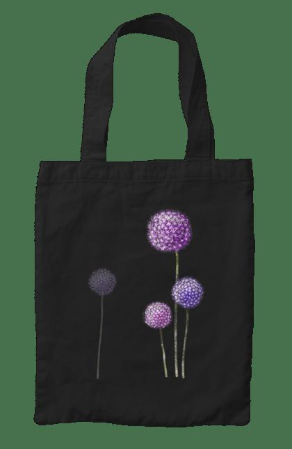 Сумка з принтом Фіолетові Кульбаби. Квітка, кульбаба, кульбаби. BlackLine