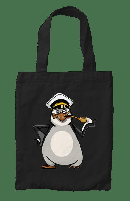 Сумка з принтом Пінгвін Курить Трубку. Моряк, пінгвін, трубка. CustomPrint.market