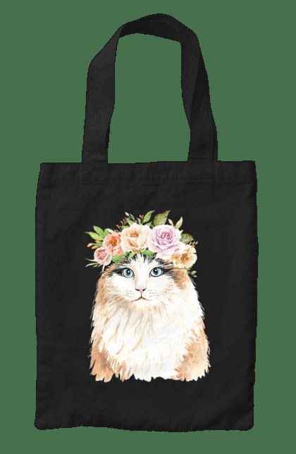 Сумка з принтом Біло-рудий кіт у вінку. Вінок, кіт, котик, троянди. CustomPrint.market