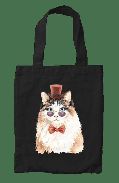 Сумка з принтом Біло-рудий кіт в капелюсі. Капелюх, кіт, котик, окуляри. CustomPrint.market