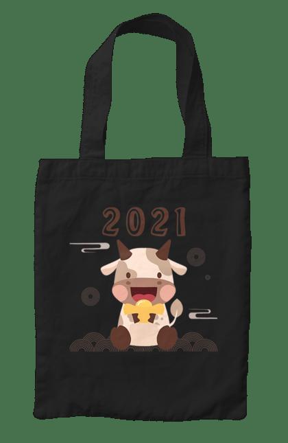 Сумка з принтом З новим 2021 роком!. 2 021, бик, новий рік, свято. CustomPrint.market