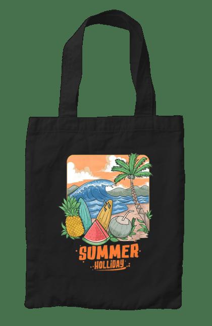 Сумка з принтом Літні Свята. Ананас, літо, море, пальма, хвилі.