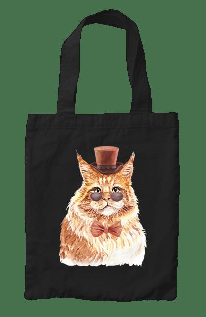 Сумка з принтом Рудий кіт в капелюсі і окулярах. Бант, капелюх, кіт, котик, окуляри. CustomPrint.market