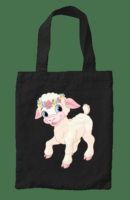 Сумка з принтом Овечка З Вінком На Голові. Мило, овечка, тварина. CustomPrint.market