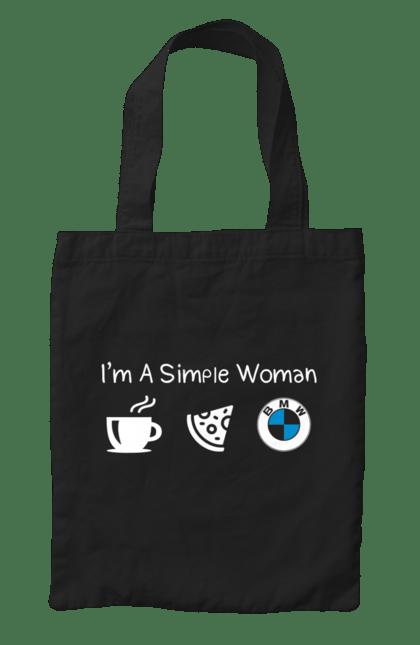 Сумка з принтом Я проста жінка, БМВ. Бмв, кава, машини, піца. CustomPrint.market